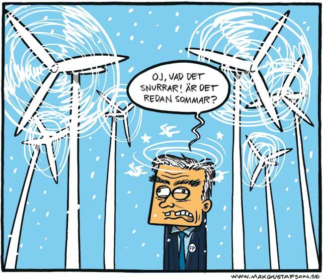 Satirteckning om en blåst partiledare. Av Max Gustafson.
