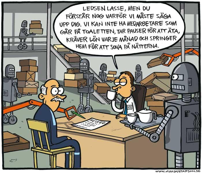 Om robotiseringen på arbetsplatser. Av Max Gustafson