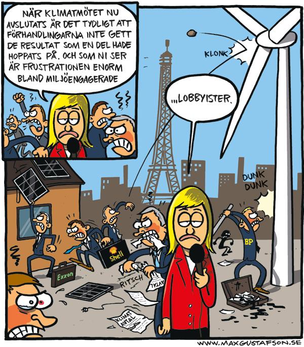 Om klimatmötet i Paris 2015. Satirteckning av Max Gustafson.