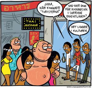 Det vet man ju hur svenskar är. Satirteckning av Max Gustafson.