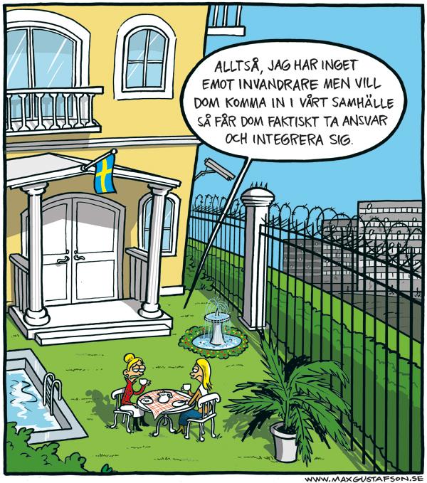 Integration på olika villkor. Satirteckning av Max Gustafson.