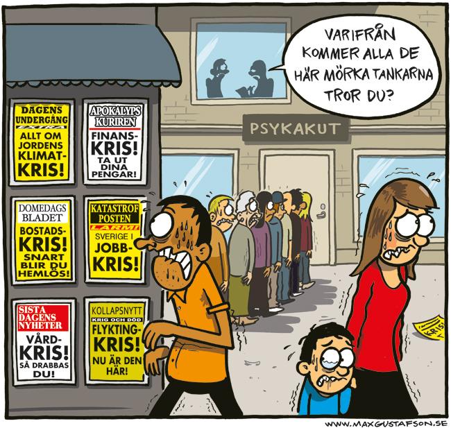 Om medias förmåga att inge hopplöshet. Satirteckning av Max Gustafson.