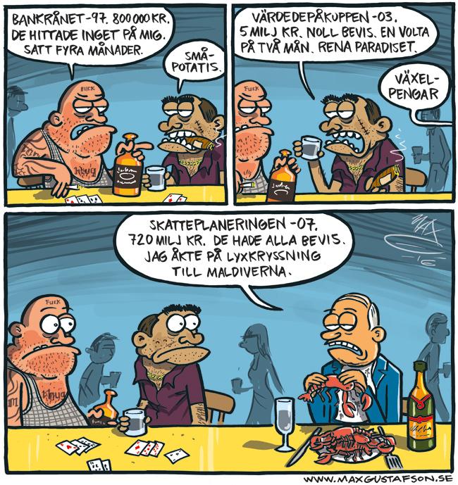 Satirteckning om skattebrott. Av Max Gustafson.
