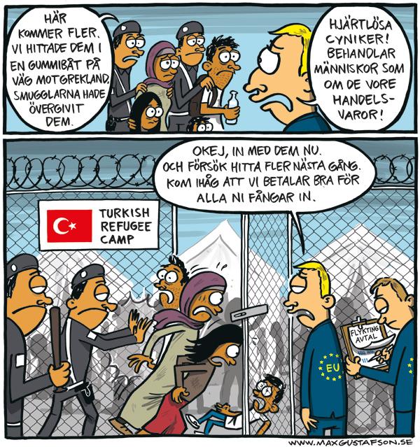 Om skenhelig europeisk flyktingpolitik. Politisk satir av Max Gustafson.