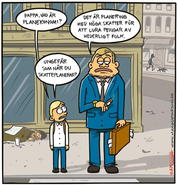 Om planekonomi. Satirteckning av Max Gustafson.