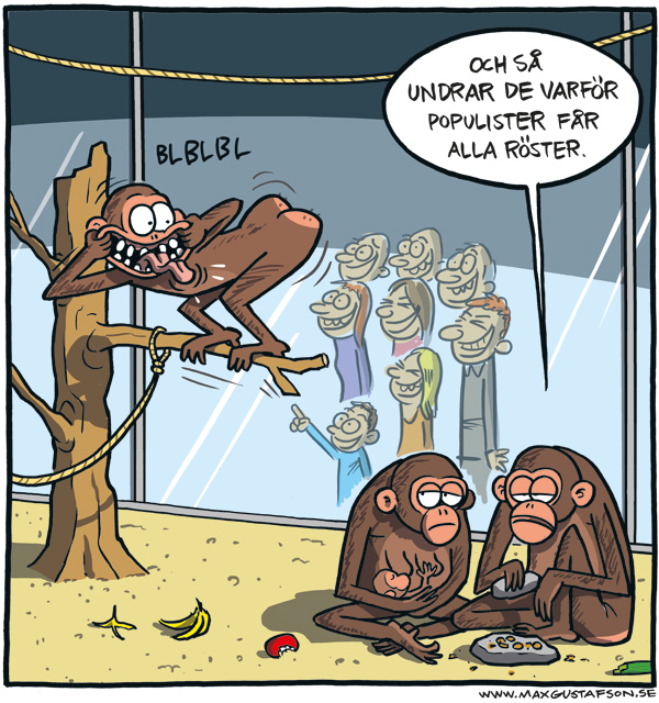 Om populism. Satirteckning av Max Gustafson.
