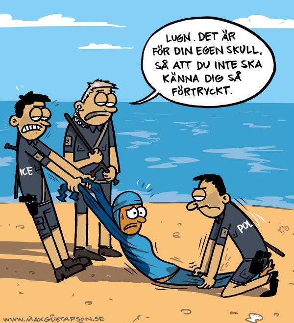 Satirteckning om det franska burkiniförbudet. Av Max Gustafson.