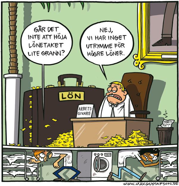 Om orättvisa löner. Satirteckning av Max Gustafson.