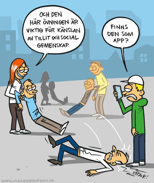 Fysisk gemenskap är ute. Satirteckning av Max Gustafson.
