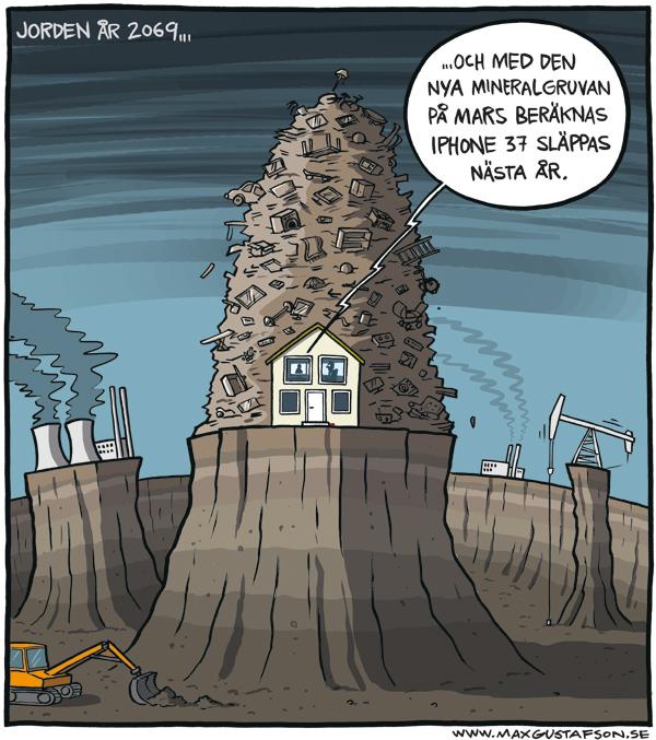 Jordens resurser måste förbrukas! Teckning av Max Gustafson.