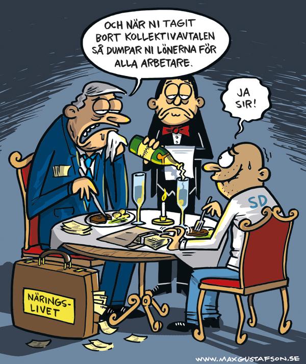 Om det arbetarfientliga partiets fjäsk för etablissemanget. Satirteckning av Max Gustafson