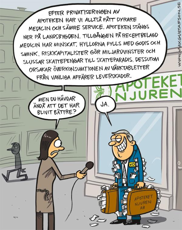 Idiotprivatisering. Satirteckning av Max Gustafson.
