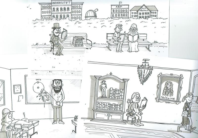 Teckningar till SVT:s program Idévärlden