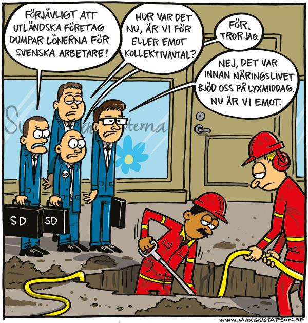 Om att försämra för svenska arbetare. Teckning av Max Gustafson
