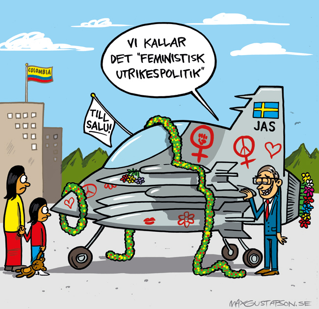Lite vapenhandel har väl aldrig stått i vägen för en fredsprocess? Teckning av Max Gustafson