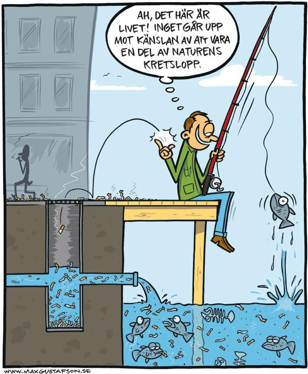 Om förgiftningen av vårt hav. Teckning av Max Gustafson