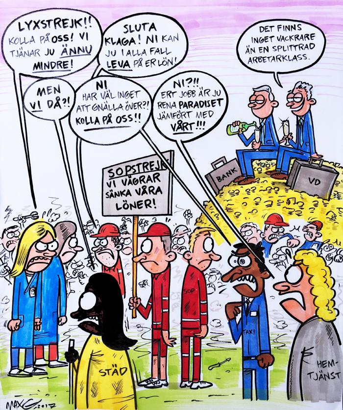 Om splittring bland arbetare. Satirteckning av Max Gustafson