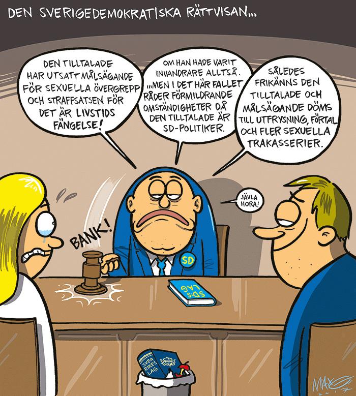Om blind orättvisa inom SD. Satirteckning av Max Gustafson
