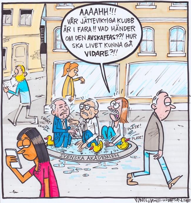 Satirteckning om bråket i Svenska Akademien, av Max Gustafson.