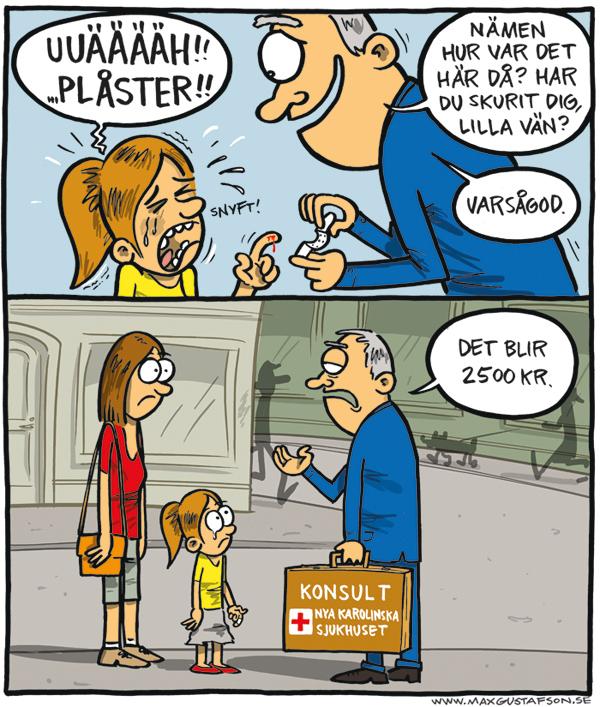 Privat vård kostar. Satirteckning av Max Gustafson.