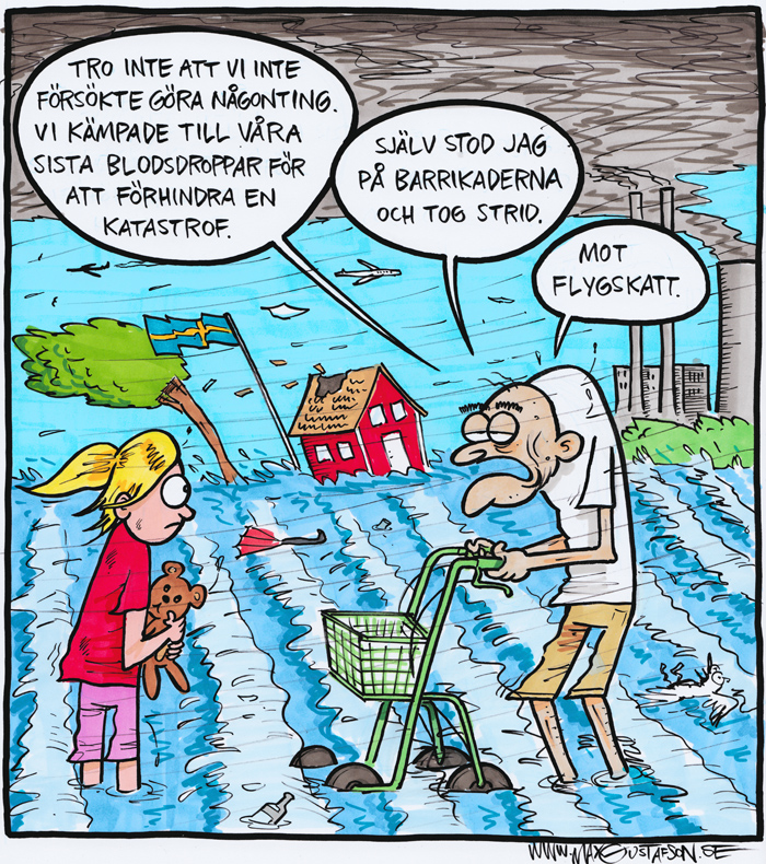 Glöm aldrig miljökämparna som offrade sig för vår skull. Satirteckning av Max Gustafson.