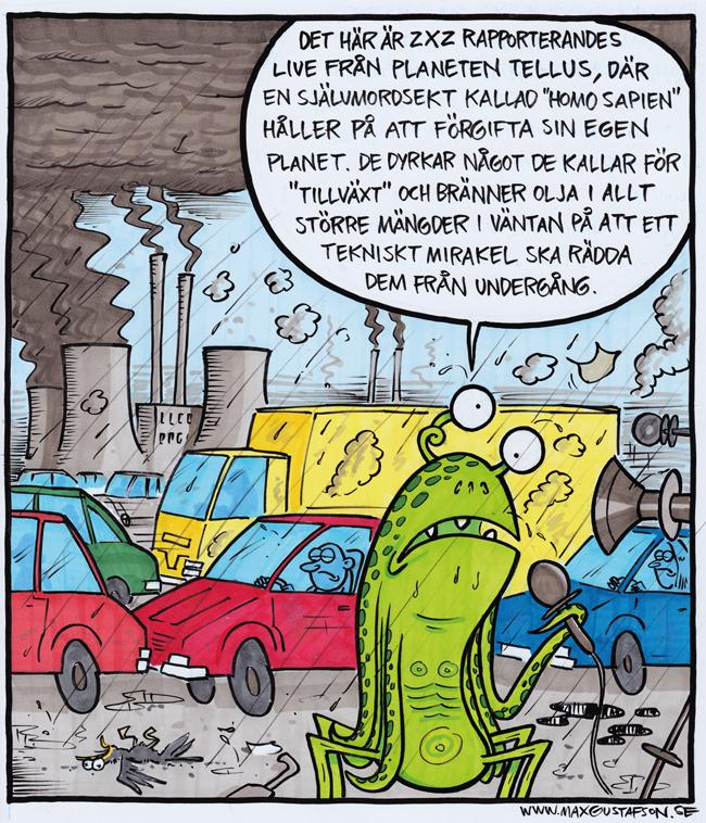 Självbevarelsedriften är kortsiktig. Satirteckning av Max Gustafson.
