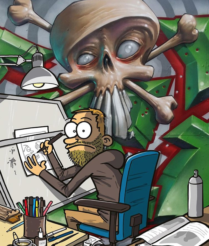 Samtal om satirtecknande och graffiti