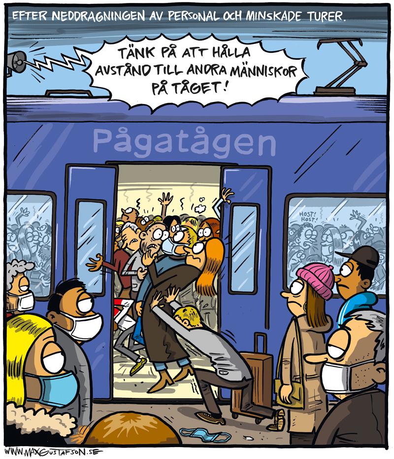 Nedskärningar i tågtrafiken när det  behövs som minst. Teckning av Max Gustafson